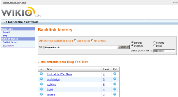 Wikio - Backlink Factory