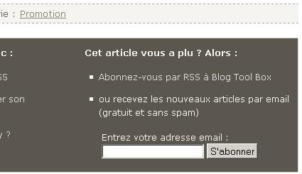Formulaire d'abonnement RSS par email