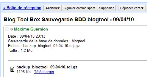 Mail Sauvegarde BDD