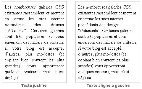 Exemples textes justifiés